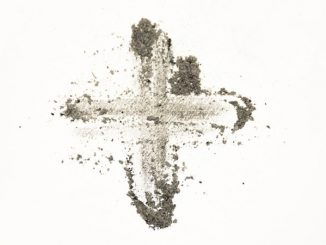 ashes in cross shape