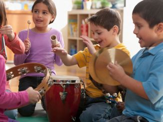 children playing music