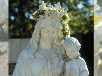 May Crowning - Mary statue with flowers