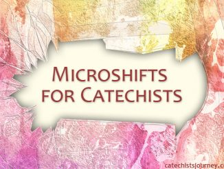 microshifts for catechists - text on background of colored broken glass