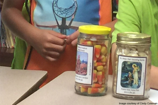 saints guessing jars - image courtesy of Cindy Coleman