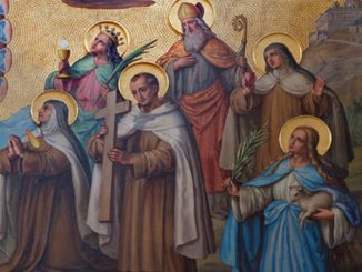 detail of saints from larger fresco