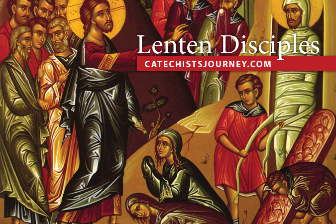 Lenten Disciples - icon of Jesus and Mary and Martha at tomb of Lazarus