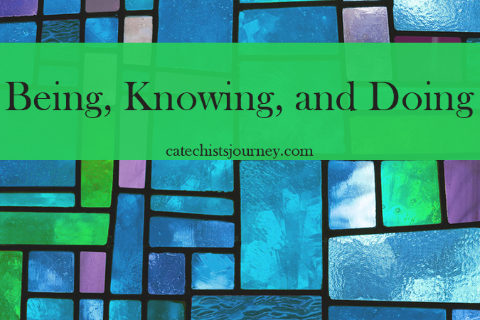 being knowing and doing - text on stained glass background