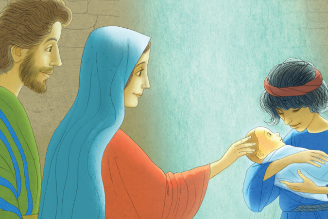 "Mary and Shepherd holding baby Jesus - spread from ""The Shepherd's Story"" from Loyola Press"