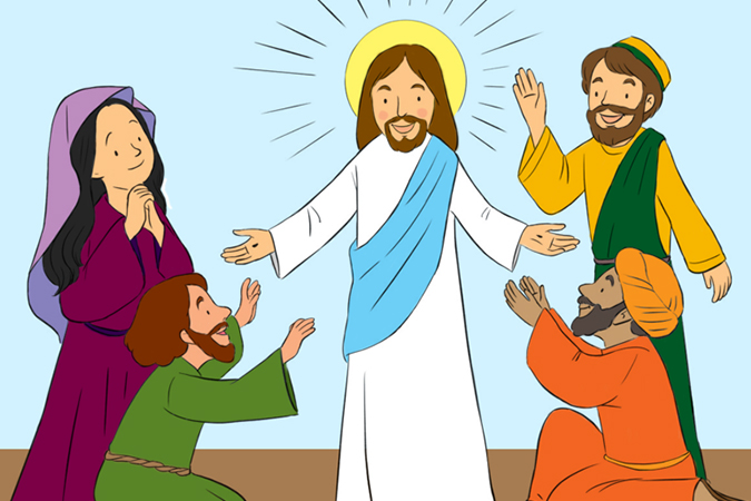 Resurrected Christ appears to disciples - illustration by Tracy Bishop