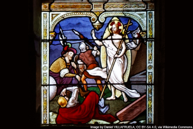 stained glass of the Resurrection - detail of the Glorious Mysteries - image by Daniel VILLAFRUELA, CC BY-SA 4.0, via Wikimedia Commons