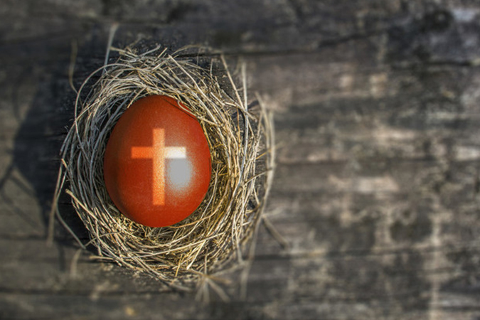 egg with cross on it