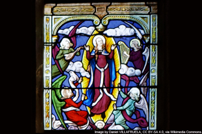 stained glass of the Assumption of Mary - detail of the Glorious Mysteries - image by Daniel VILLAFRUELA, CC BY-SA 4.0, via Wikimedia Commons