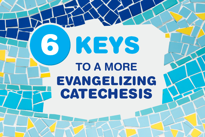 6 Keys to a More Evangelizing Catechesis - text with mosaic tiles surrounding it