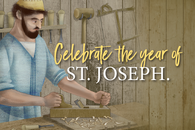 Celebrate the Year of St. Joseph - text next to image of Joseph at work as carpenter